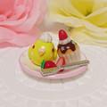 n018ミニチュア/いちごカップケーキプレート/セキセイ・ルチノー