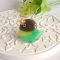 r012バッジ/お花とインコ/ボタン・グリーン