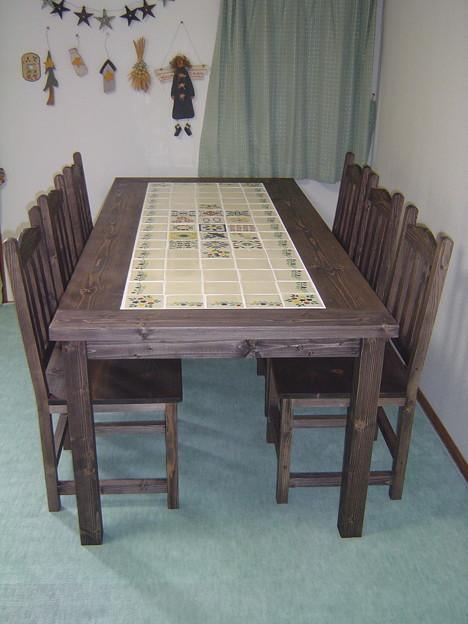 メキシコタイルのダイニングテーブルセット