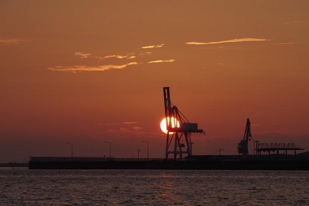 夕日に照らされる鉄キリン