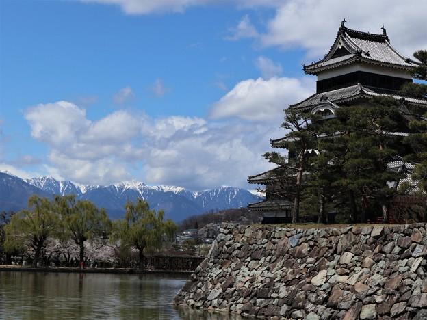 松本城とアルプス2