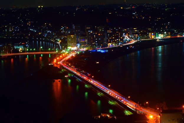 江ノ島大橋 #湘南 #藤沢 #海 #波 #wave #江ノ島 #mysky #nightview #夜景