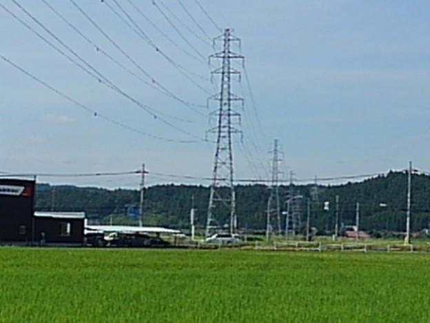 奥に鉄塔が見える田園地帯の景色(8月19日)