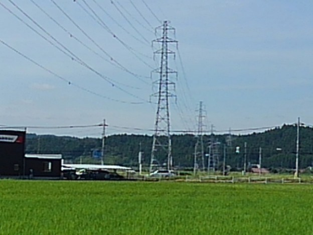 Photos: 奥に鉄塔が見える田園地帯の景色(8月19日)