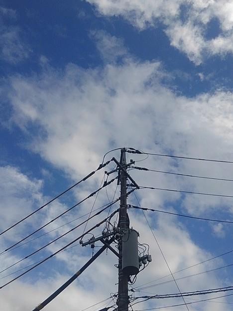 電柱と雲のある青空(9月6日)