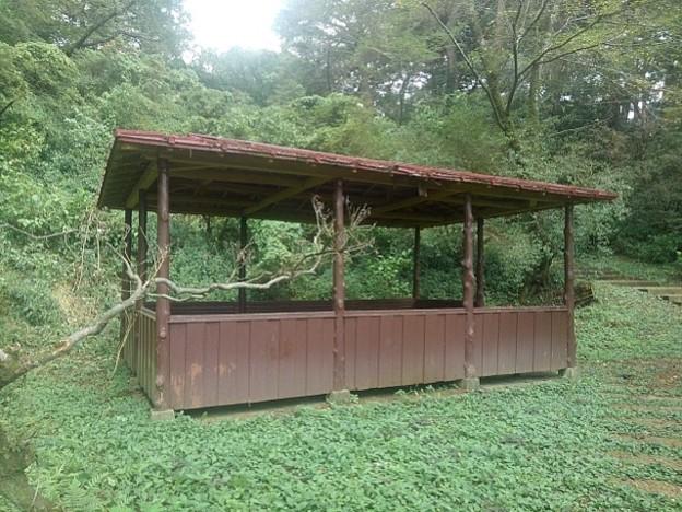 Photos: 横から見た赤い屋根の休憩所(9月5日) (2)