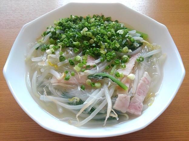 小松菜がメインの春雨スープ