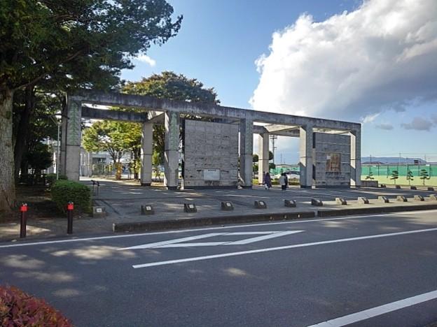 県北体育館の入口(10月24日)