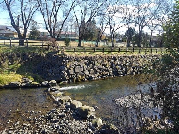 石垣の土手と川の景色(12月8日)