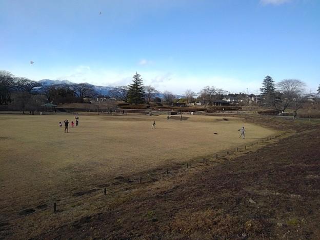 長峰公園の芝生広場(1月1日)