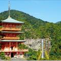 Photos: 那智山青岸渡寺の三重塔と那智の滝