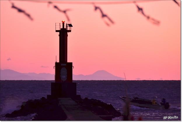 出船と富士山