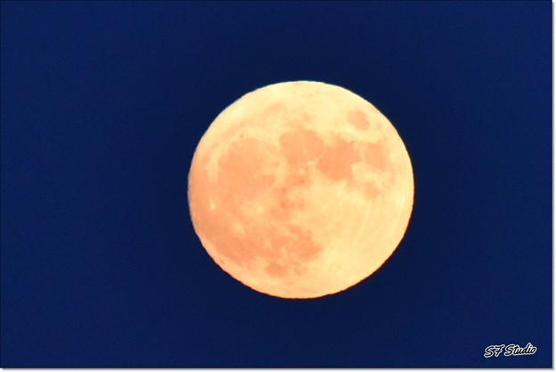 ブルーアワーの中秋の名月
