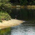湖畔の釣り人
