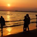 写真: 湘南の夕日