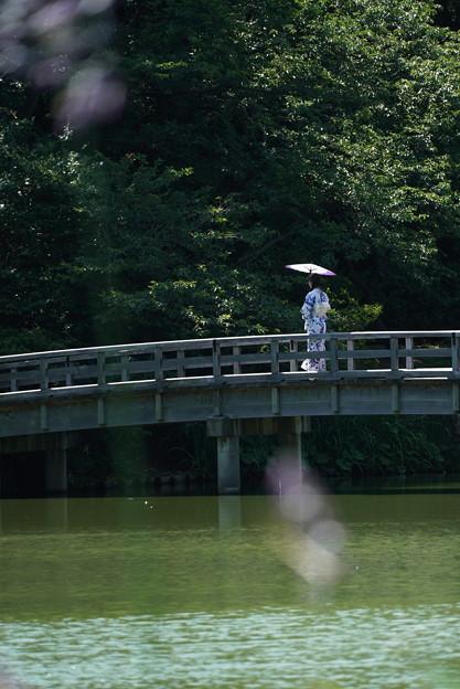 橋を渡る女性
