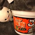 """写真: 今夜も厳冬、今夜もカップ麺""""ごつ盛り 味噌""""~暖まるよ、にゃんこが持ってきてくれた涙"""