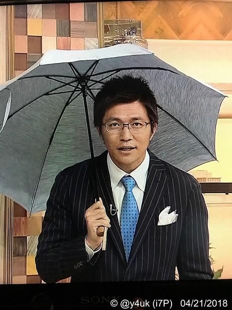 Photos: 日傘男子もイケてる上に注意が伝わる斉田さん「兼用の傘もあります男性も使ってほしいです。紫外線にも要注意です!」4.20 ニュースウオッチ9 和む( ´ ▽ ` )