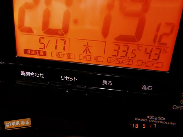 Photos: 20:19 33.5℃43%!5月なのに昨日今日あす蒸し暑すぎる~熱いTシャツ・床・布団・ぬるい扇風機、こもる汗、蚊に刺され指~深夜も暑い寝られないうるさい環境(~_~;)熱中症暑さ注意~フィルム風
