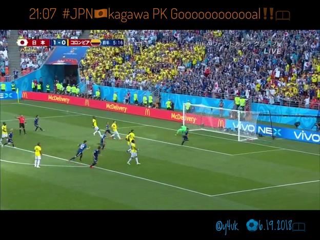21:07 #JPN 香川真司PK Gooooooal!!!開始早々先取点&#COL一発退場10人☆メンタルも強くなった背番号10番、相手の嫌がらせに動じないW杯の大舞台で冷静に決めた!本田超え