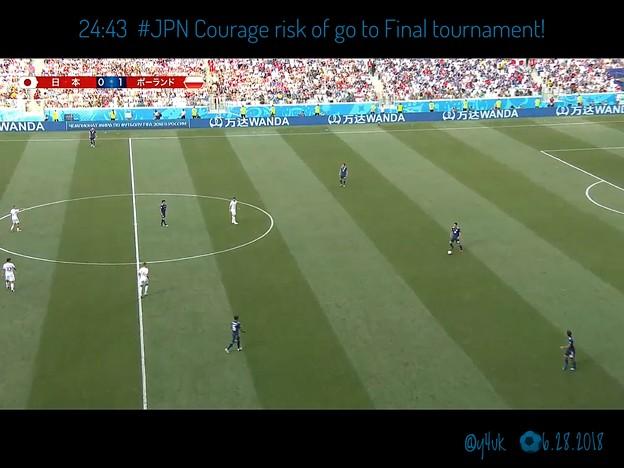 24:43 #JPN Courage go to!西野監督、勇気ある決断☆負けていてもフェアプレイポイントで2位通過できる☆もしセネガルがゴールしたら日本敗退だったしかし確率は低かった☆残り10分だけ