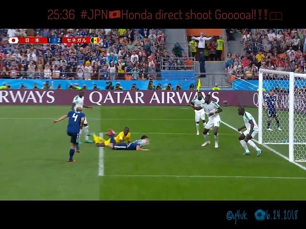 Photos: 25:36 #JPN Honda direct shoot Gooooal!~そこにいた。持ってる男。W杯3連続ゴール!本田圭佑、最後のW杯で最後のゴール~彼の3連続日本代表への貢献は計り知れない強さ