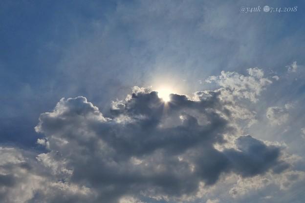 Just cloud in sun隠れて太陽、空(-。-;日向と日陰では熱中症なるかならないか?大きな温度差があり。雲に隠れれば幾分ラク~日傘は凄い物だがチャリ傘は捕まる