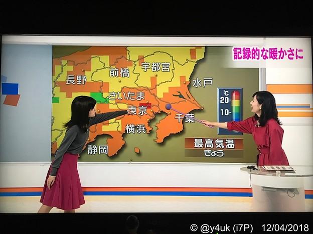 「記録的な暖かさに」冬なのに夏日「ここ25℃以上の赤じゃないですかー!」伸ばした指先に愛の暑い赤。関口奈美気象予報士も指し棒で。2人の赤がXmas最高☆仲良しでやりとり面白い☆NHK首都圏ネットワーク