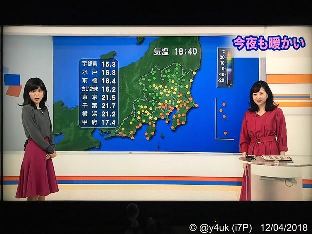 「夜も暖かい」夏の様、異常気象…でも週末から寒波。驚きの表情の合原明子アナ~ヘップバーン(^^)関口奈美気象予報士も笑う。2人の赤ファッション仲良しXmasムード(о´∀`о)NHK首都圏ネットワーク