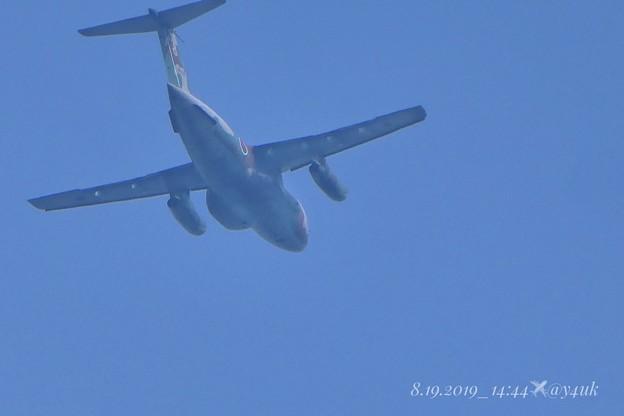 """8.19_14:44Blue summer sky Big flying """"C-1""""~夏空をenjoyしてる大きな動物の様で~ゆったり飛んで行った~ブーンって久しぶりに飛行機(1500mm:TZ85)"""