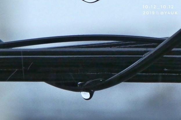 10:12_10.12Raindrop cable art at super-typhoon19台風19号接近電線に雨の雫フィルム風「猫飼ってて避難できなくて…(1500mm/ISO500:TZ85)