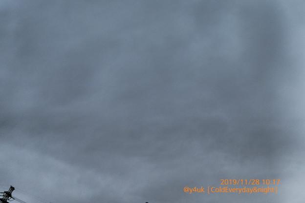 Photos: 10:17_11.28Cold Everyday & night~3日連続曇り&8-9℃日中夜寒さで悲しさで眠れない。急に真冬。この空の向こうへ行った鉄塔もサンタも行く?インプレッシブアート:TZ85