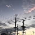 12.2_16:29旅先その7.夕暮れXmasTree鉄塔が孤独に寒くなる夕日の空へ電柱と一緒なら温かい夜を迎えられるのに☆Wish Xmas the cold night sunset nextGo