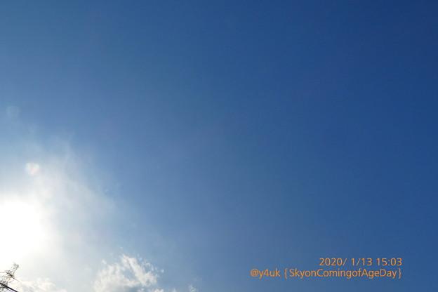2020.1.13Sky on Coming of Age day~成人の日の空。も続く気持ち悪い暖かい真冬、成人の日らしくない。けど晴れて寒くないから晴れ着は映えて咲いていた!(絞り優先:TZ85)