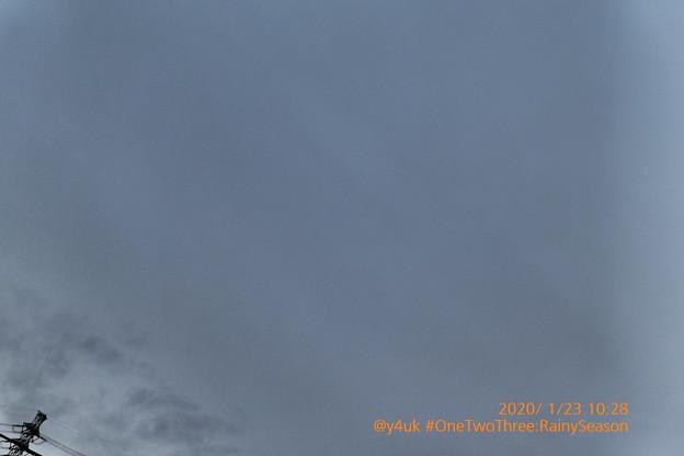 10:28_1.23#OneTwoThree day:Rainy Season start~#ワンツースリーの日!これぞ冬空、今にも降りそう鉄塔。冬に梅雨入り異常気象(インプレッシブアート:TZ85)