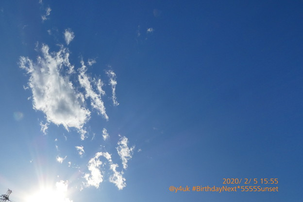 "2.5_15:55 Birthday Next""5555""sunset winter sky~お誕生日翌日の青空夕空冬空☆次の日5並びの奇跡☆オーディオ問い合わせしてたら長時間(絞り優先:TZ85)"