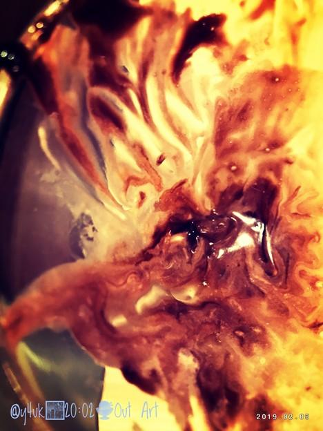 "20:02_2.5.2019 dinner ""Out Art"" sweets chocolate sundae~免更◯家電量販店→夜外食1人、食後のサンデーアート[Valentine2020-mix]"