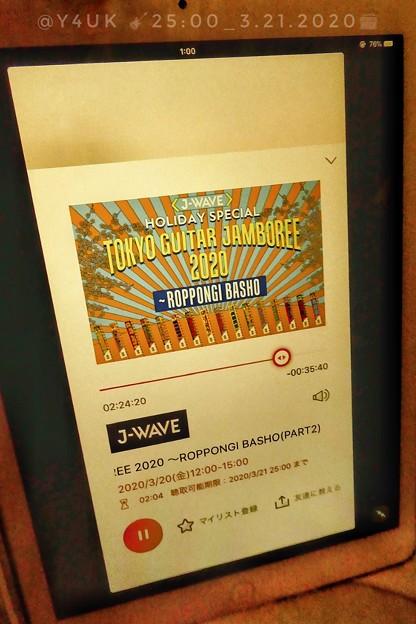 "25:00_3.21radikoタイムフリーで""J-WAVE GUITAR JAMBOREE 2020""20名連続ギター生弾き語り~新型コロナで延期だから無観客で配信は最高▼新iPadPro発表ほしい"