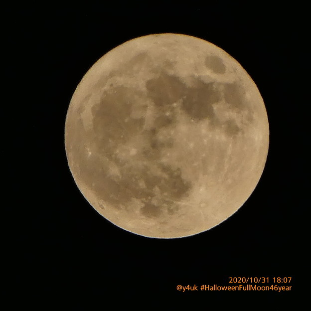 Photos: 18:07_10.31#Halloween Full moon in 46years「10月2度目の満月、ハロウィンの満月は日本では46年ぶり/見ると幸せが訪れる!?今夜はブルームーン」鎌倉ものがたり