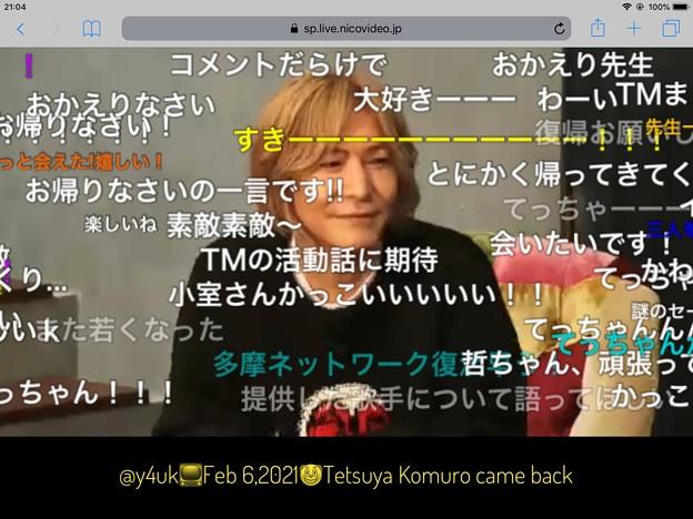 """2.6お誕生日2日後21:04Tetsuya Komuro came back""""TETSUYA KOMURO MUSIC FESTIVAL TK SONG40""""ニコ生復帰笑顔DJKOO&住吉美紀も歓喜"""