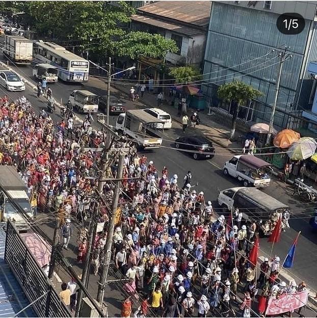 ヤンゴン デモ  2月6日(1)