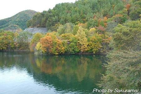 湖に映る紅葉