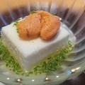 写真: オクラとろろ豆腐うに添え