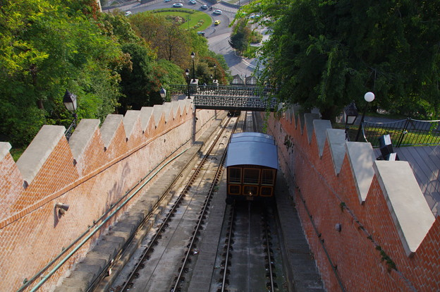 ブダ王宮の丘のケーブルカー