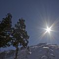 写真: 雪晴れの陽