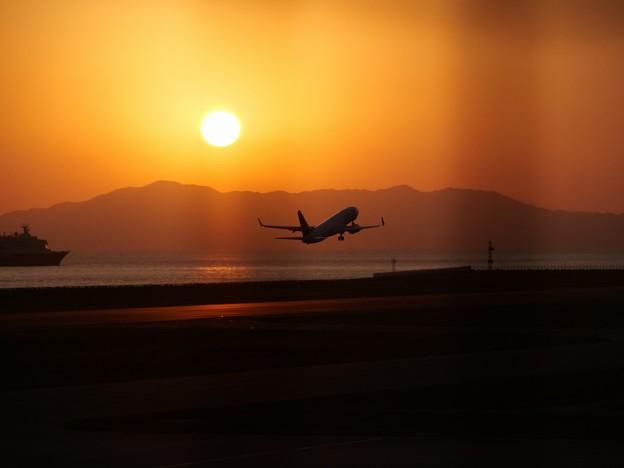 にっぽん丸と夕日と飛行機と金網