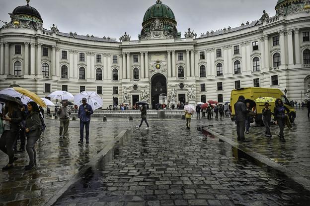 写真: 雨のウィーン「王宮」