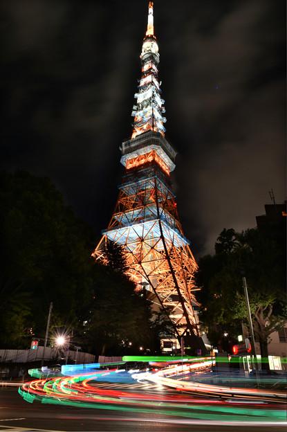 タワー&光跡