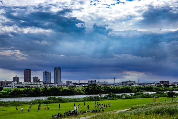 多摩川河川敷「いつもの散歩道」