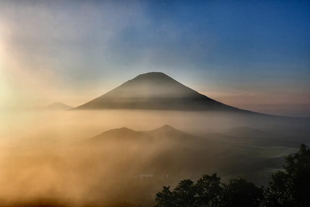 写真: 夕暮の雲海に浮かぶ羊蹄山 その5